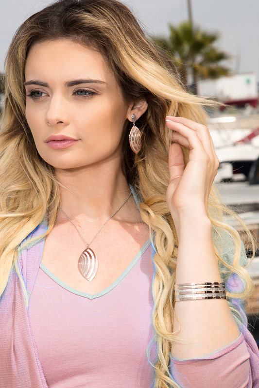 STERLING SILVER AND ROSE GOLD PLATED ECHO WAVE-collection jewelry