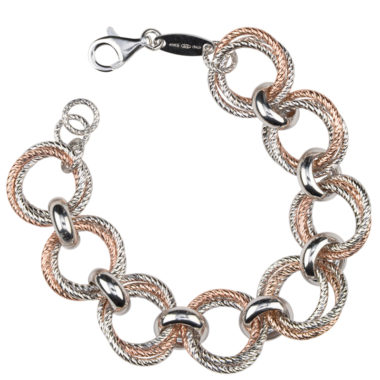 STERLING SILVER AND ROSE GOLD PLATED LOVE KNOT BRACELET br826