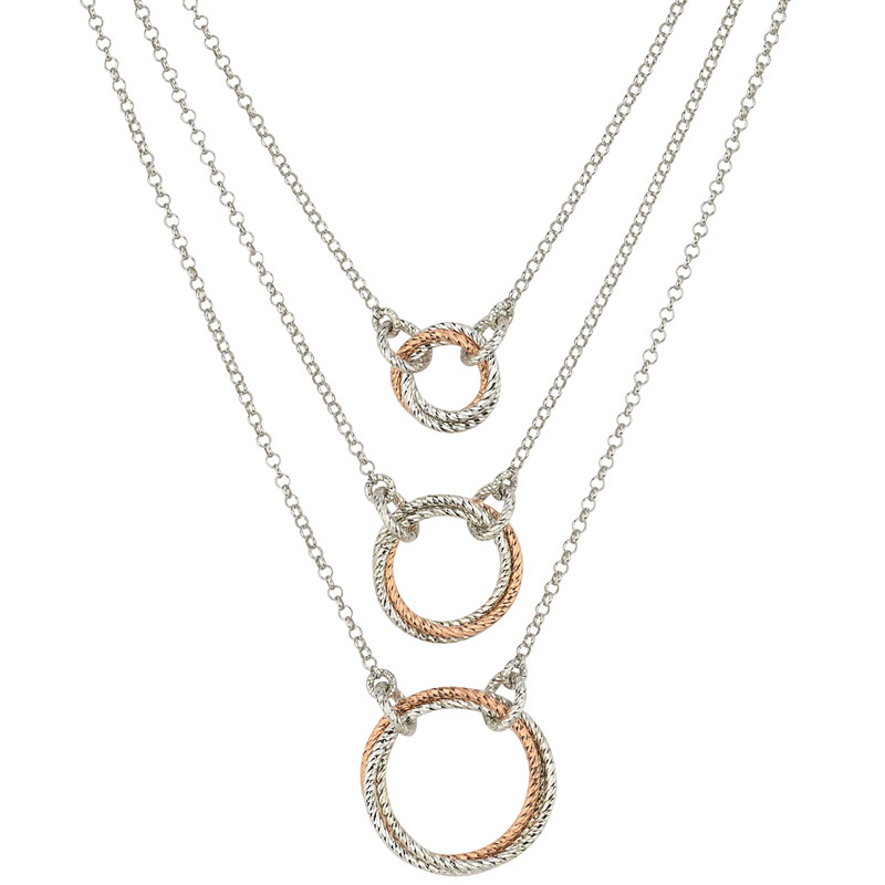 STERLING SILVER ROSE GOLD PLATED 3 TIER NECKLACE ne826