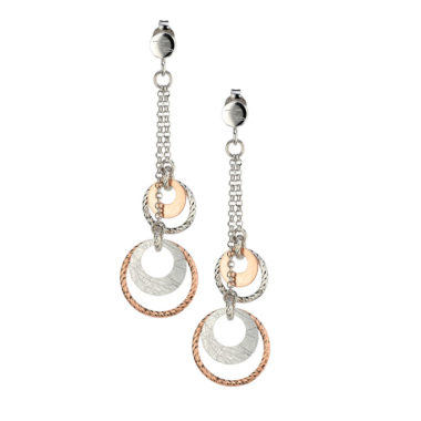 STERLING SILVER ROSE GOLD PLATED CIRCLE DANCE EARRINGS e837