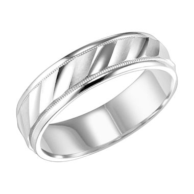 Diagonal Cut Milgrain & Rolled Edges Comfort Fit Wedding Band - angled view