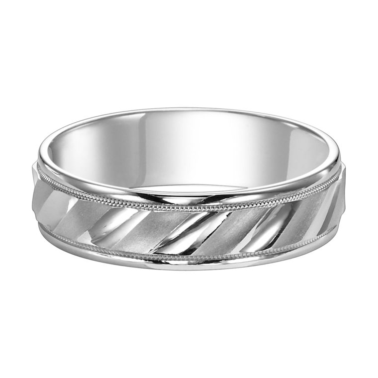 Diagonal Cut Milgrain & Rolled Edges Comfort Fit Wedding Band - flat view