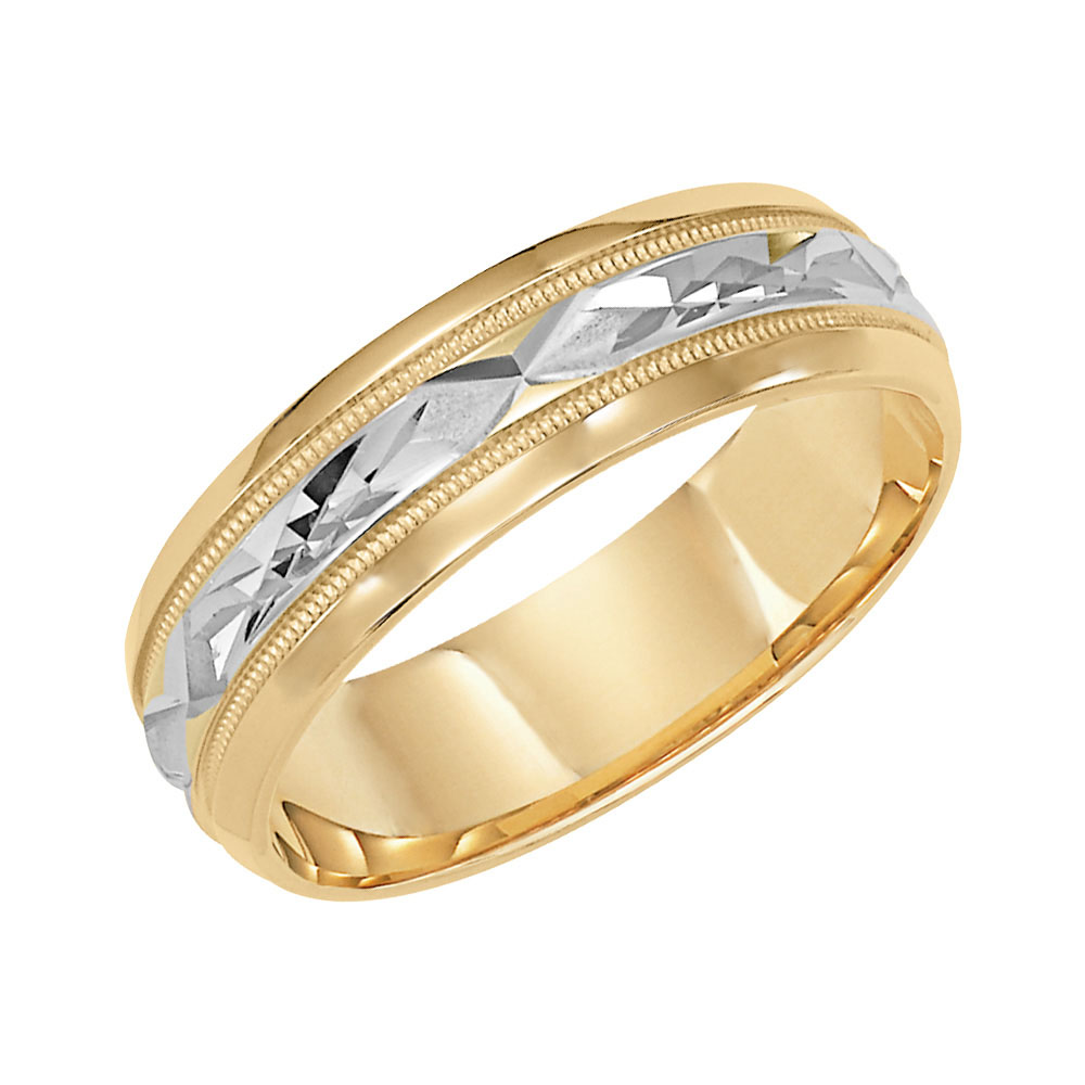 Diagonal Cut Milgrain & Rolled Edges Comfort Fit Wedding Band in 14k White Gold - angle view