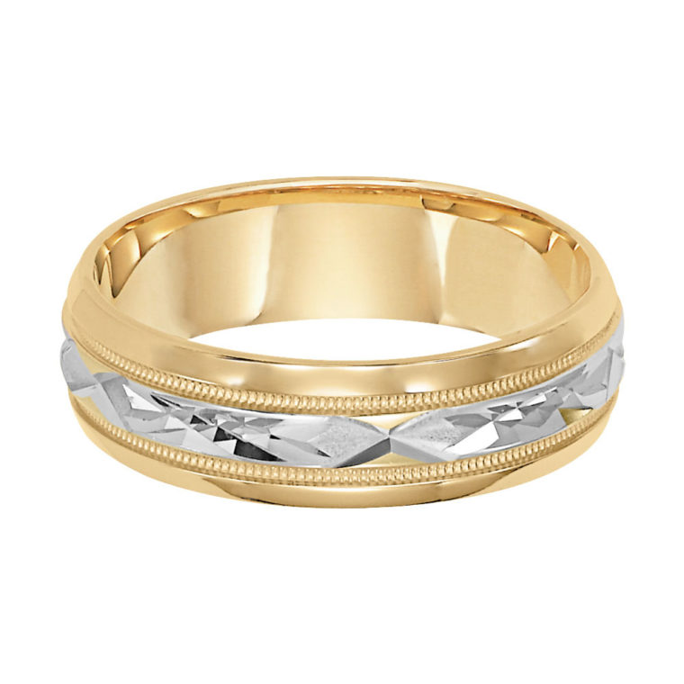 Diagonal Cut Milgrain & Rolled Edges Comfort Fit Wedding Band in 14k White Gold - flat view