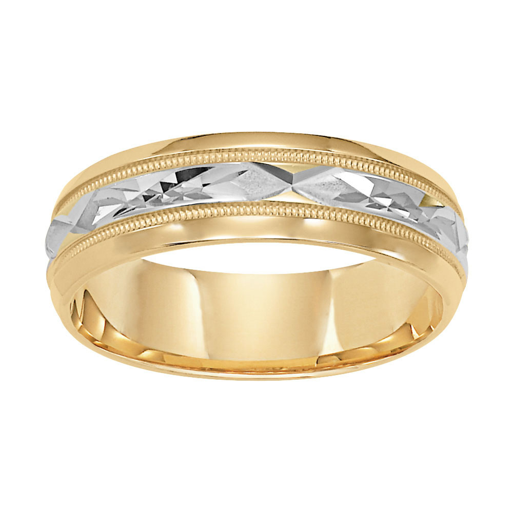 Diagonal Cut Milgrain & Rolled Edges Comfort Fit Wedding Band in 14k White Gold - flat up view