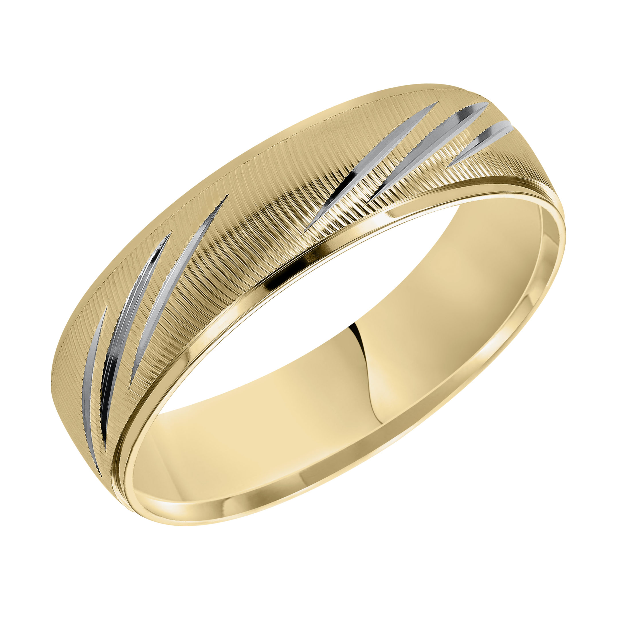 Vertical Fine Line Finish & Round Edges Wedding Band in 14k Yellow Gold & Rhodium - angle view