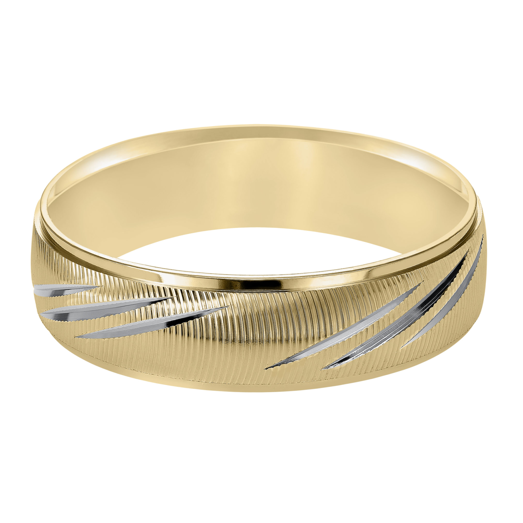 Vertical Fine Line Finish & Round Edges Wedding Band in 14k Yellow Gold & Rhodium - flat view