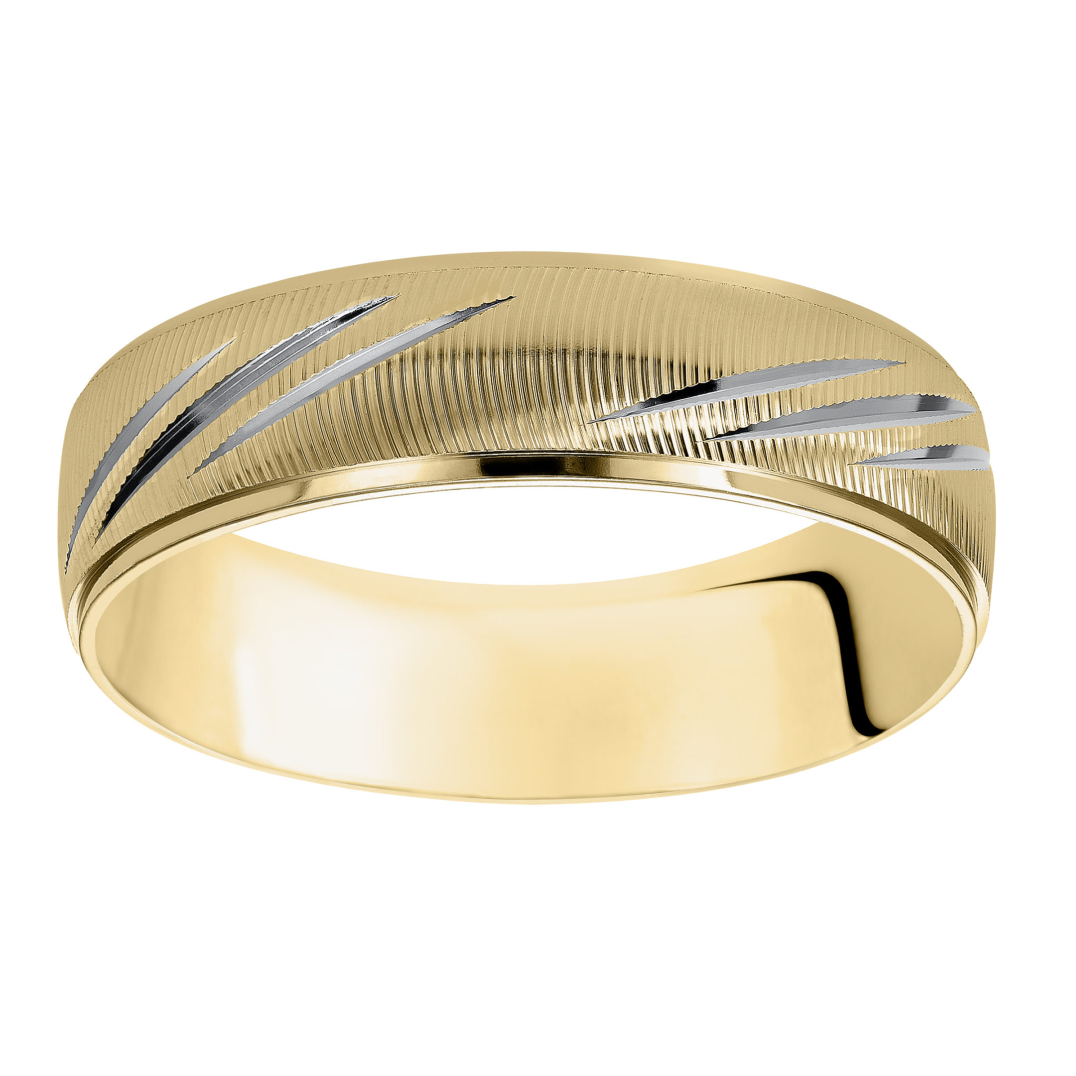 Vertical Fine Line Finish & Round Edges Wedding Band in 14k Yellow Gold & Rhodium - flat up view