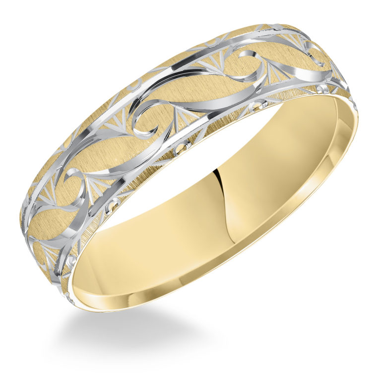 Ornate Satin Finish & Beveled Edge Comfort Fit Wedding Band in 14k Yellow Gold & Rhodium - angle view
