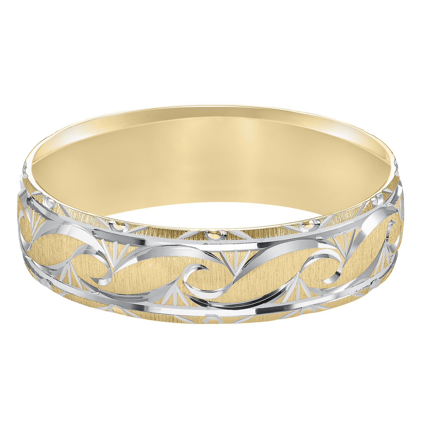 Ornate Satin Finish & Beveled Edge Comfort Fit Wedding Band in 14k Yellow Gold & Rhodium - flat view