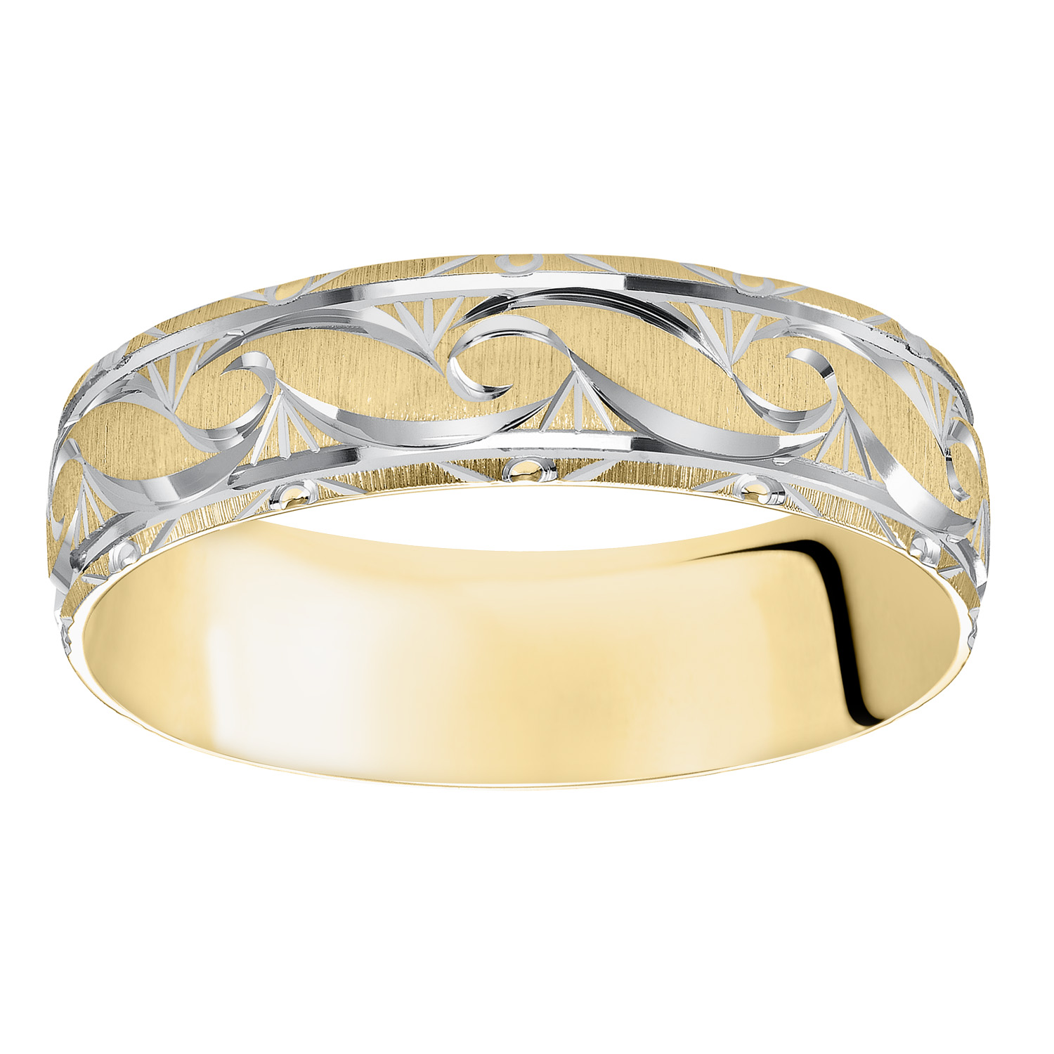Ornate Satin Finish & Beveled Edge Comfort Fit Wedding Band in 14k Yellow Gold & Rhodium - flat up view