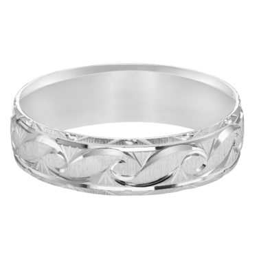 Ornate Satin Finish & Beveled Edge Comfort Fit Wedding Band in 14k White Gold