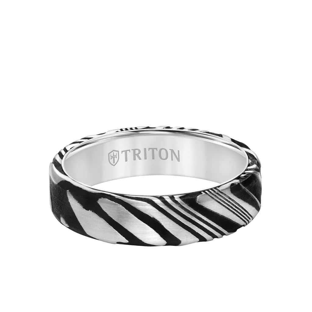 6MM White Tungsten Carbide Ring with Damascus Steel-11-6049WC6-G_FLAT