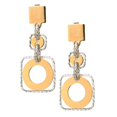 STERLING SILVER & YELLOW GOLD FRAMED CIRCLE EARRINGS