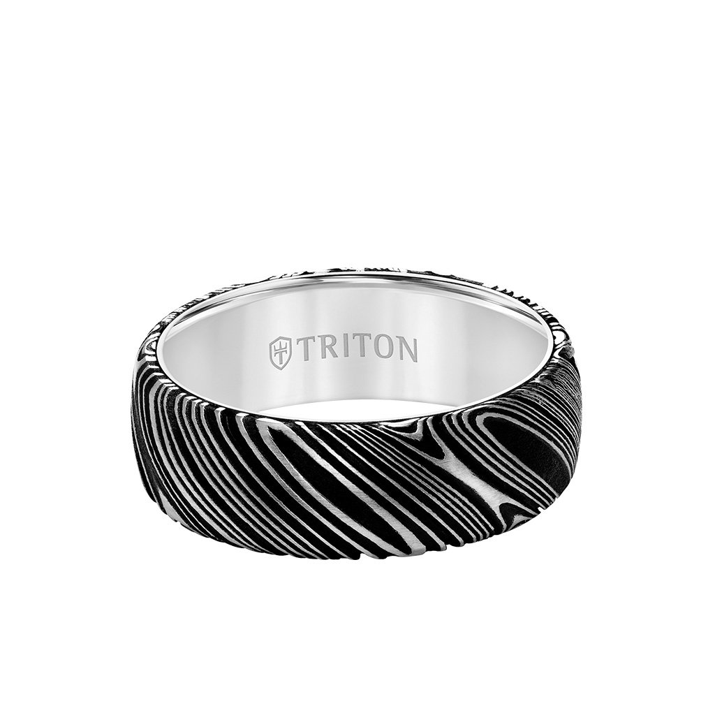 Damascus Steel 8MM White Tungsten Carbide Triton Ring-11-6048WC8-G_FLAT