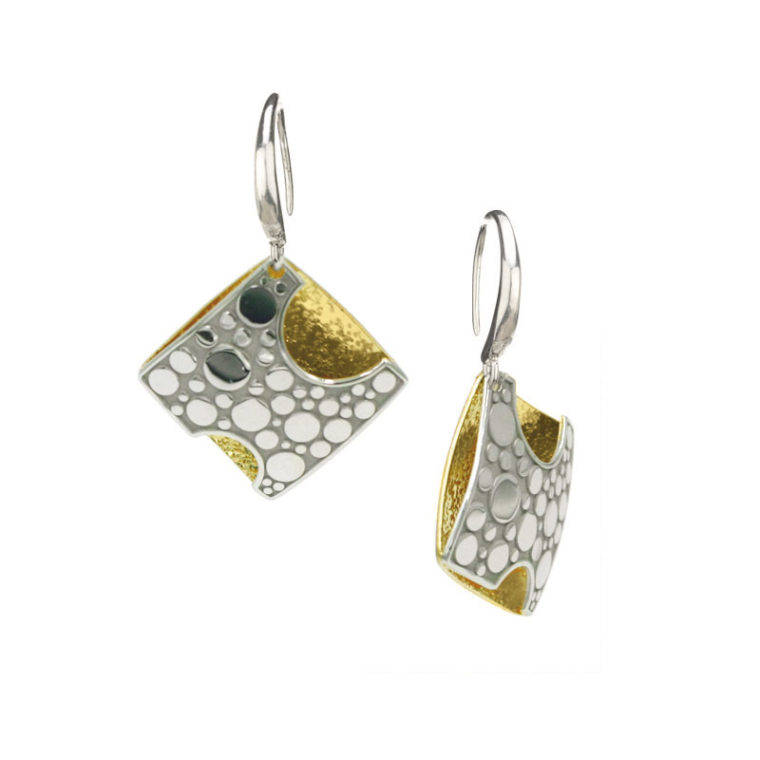 STERLING SILVER AND YELLOW GOLD PLATED MOON - BEAM EARRINGS-E1012