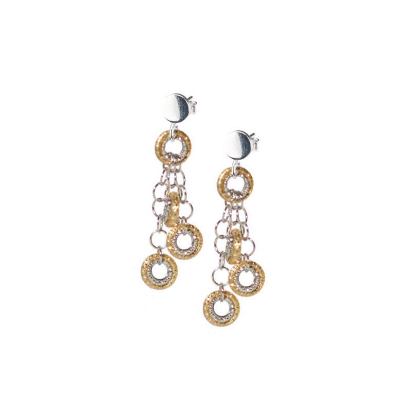 STERLING SILVER GOLD PLATED TRIPLE FANTASIA EARRING E482