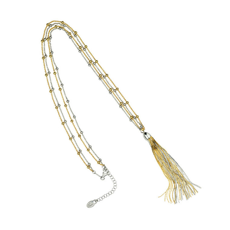 STERLING SILVER YELLOW GOLD PLATED 24 TASSEL NECKLACE ne849