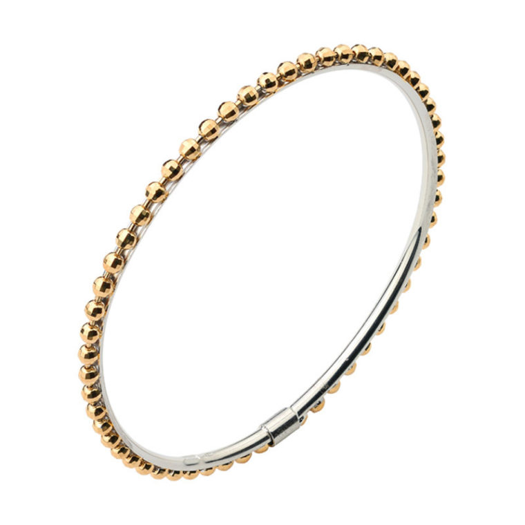 STERLING SILVER YELLOW GOLD PLATED SPARKLE BANGLE bracelet BR844