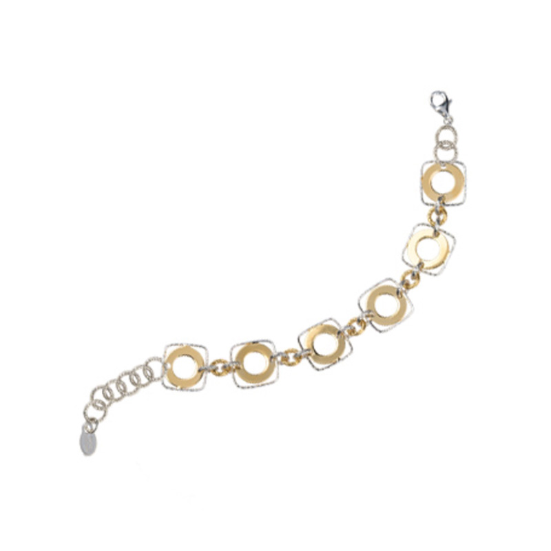 STERLING SILVER AND YELLOW GOLD PLATED FRAMED CIRCLE BRACELET