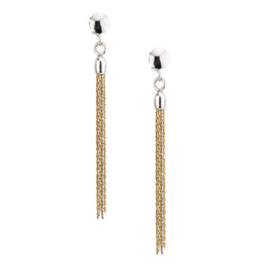 sterling silver yellow gold plated tassel earrings e581