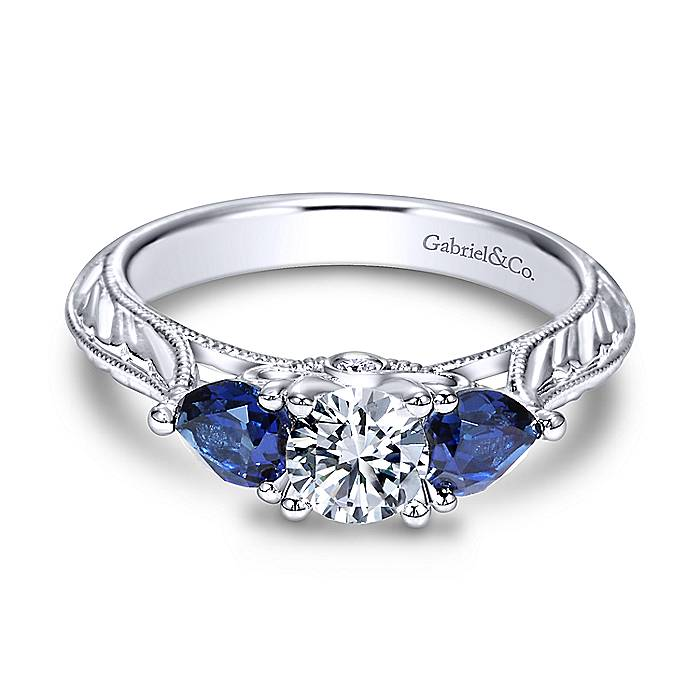 Gabriel Couture 14k White Gold Round 3 Stones Engagement Ring ER98989W44SA.CSD4-1