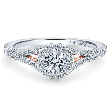 Gabriel Flow 14k White And Rose Gold Round Halo Engagement Ring ER913014R0T44JJ.CSD4-1