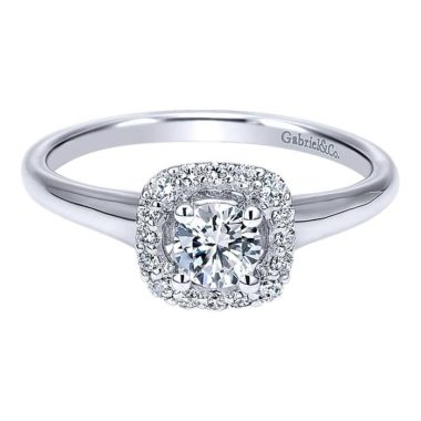 long island Gabriel Courage 14k White Gold Round Halo Engagement Ring ER911928R0W44JJ.CSD4