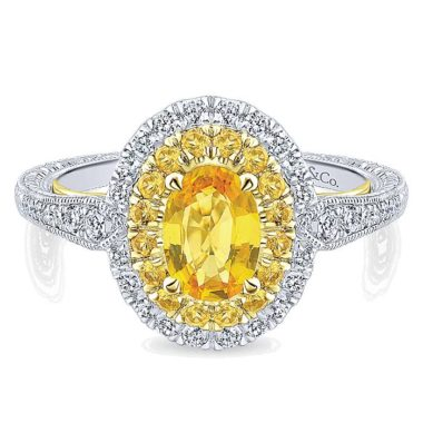 long island Gabriel Sena 14k Yellow And White Gold Oval Double Halo Engagement Ring ER912996O3M44YS.CSYS-1