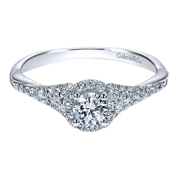 Gabriel Sonoma 14k White Gold Round Halo Engagement Ring ER911925R1W44JJ