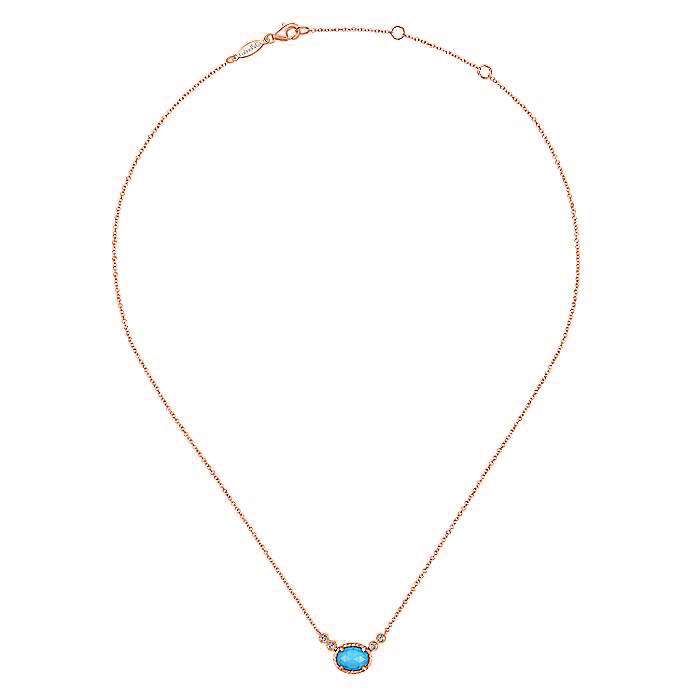 Beautiful Rock Crystal Turquoise & Diamond Necklace in 14k Rose Gold