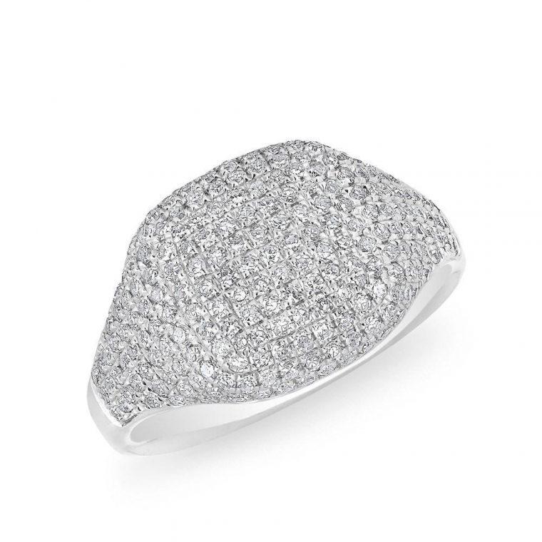 All Diamond Signet Fashion Ring in 14k White Gold