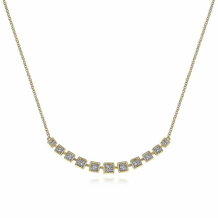 Bar Necklace with Diamond Squares in 14k Yellow Gold