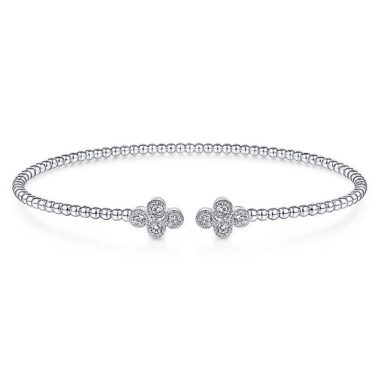 Clover Diamond Open Bangle in 14k White Gold