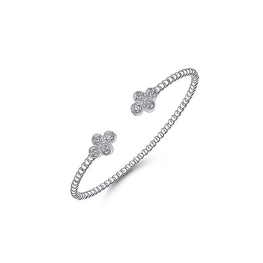 Clover Diamond Open Bangle in 14k White Gold