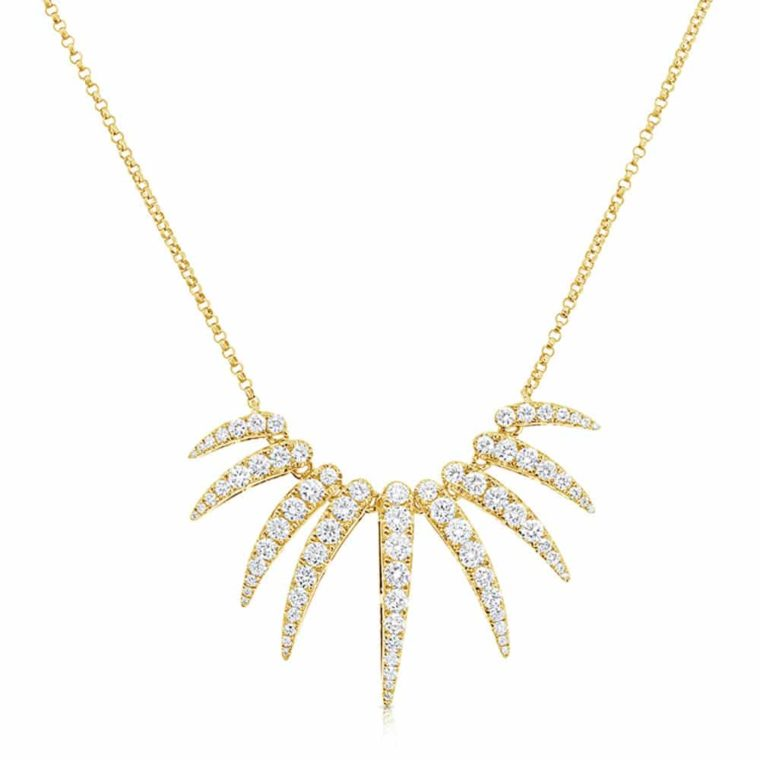 Curved Diamond Bars Pendants Necklace in 14k Yellow Gold