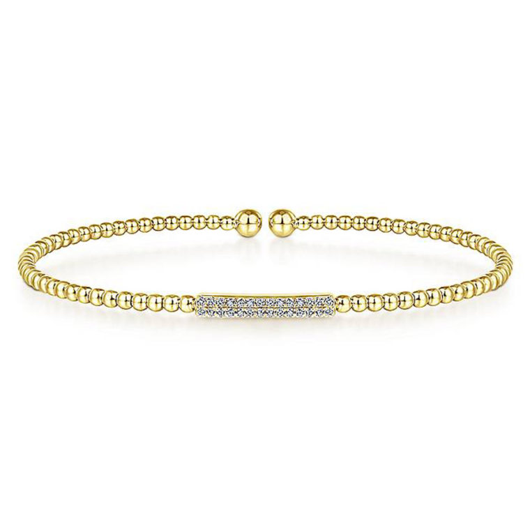 Diamond Bar Open Bangle Bracelet in 14k Yellow Gold