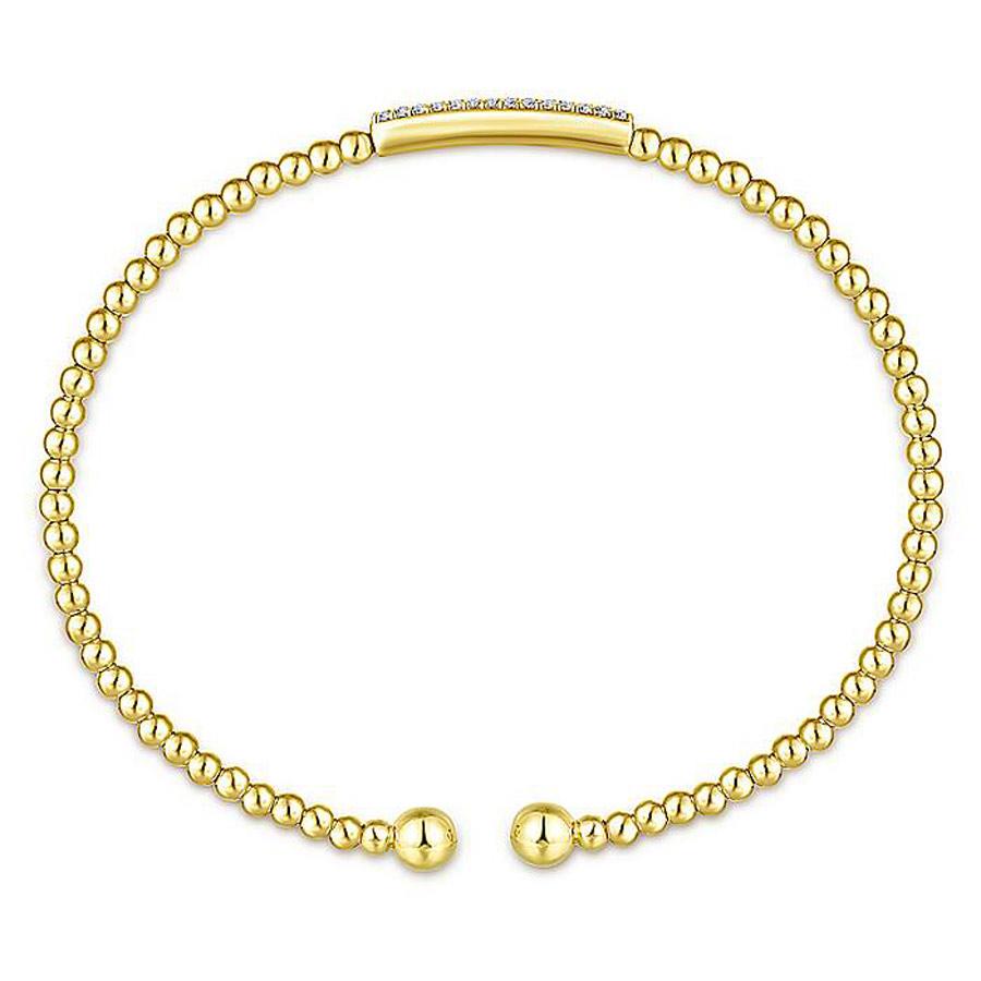 Diamond Bar Open Bangle Bracelet in 14k Yellow Gold 2
