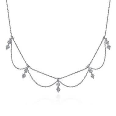 Diamond Choker Necklace in 14k White Gold