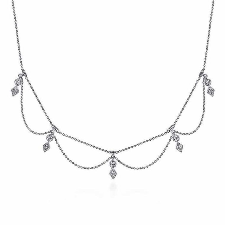 Diamond Choker Necklace in 14k White Gold