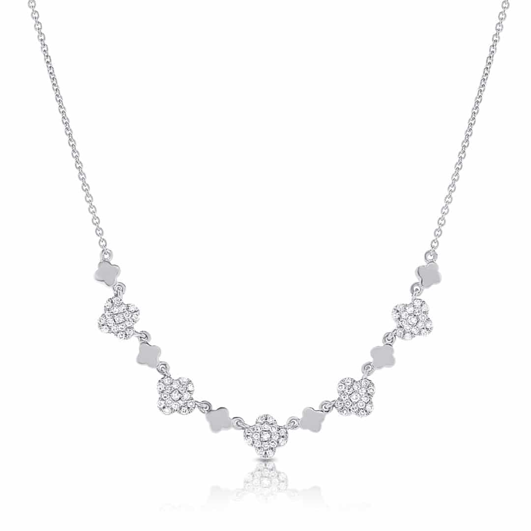 Diamond Clover & Heart Pendant in 14k White Gold