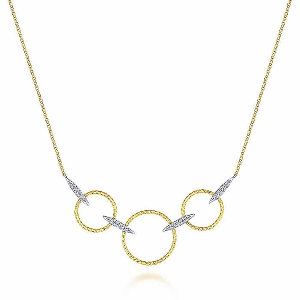 Diamond-Rings-Necklace-14k-Yellow-White-Gold
