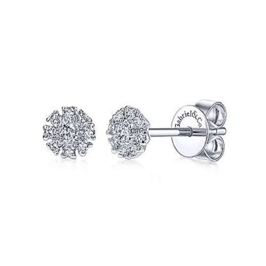 Floral Stud Earrings in 14k White Gold with Diamonds