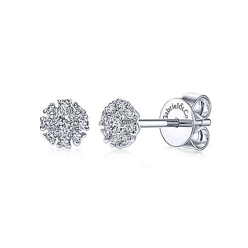 Floral Stud Earrings in 14k White Gold with Diamonds-front-view