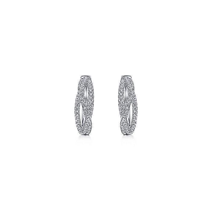 Huggie Earrings in 14k White Gold-EG13713W45JJ