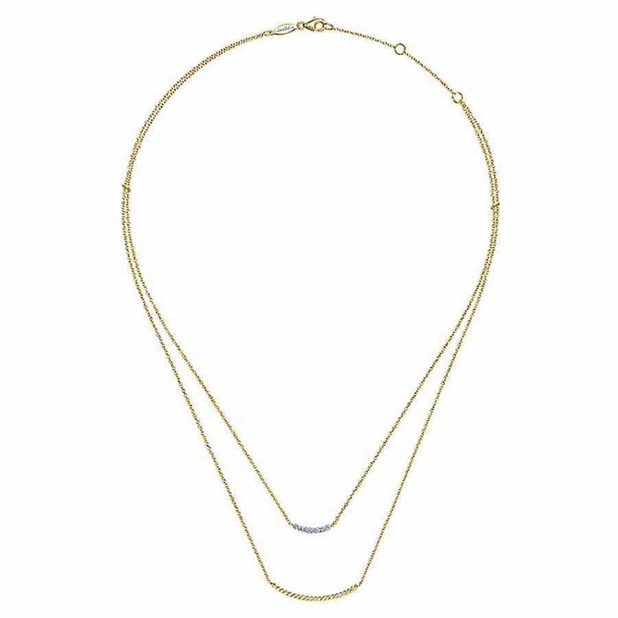 Layered Diamond Twisted Bar Necklace in 14k Yellow Gold
