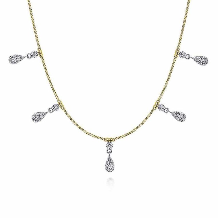 Pear Shaped Diamond Choker Necklace in 14k Yellow/White Gold