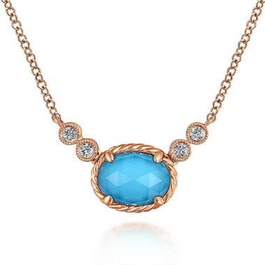 Rock Crystal Turquoise & Diamond Necklace in 14k Rose Gold