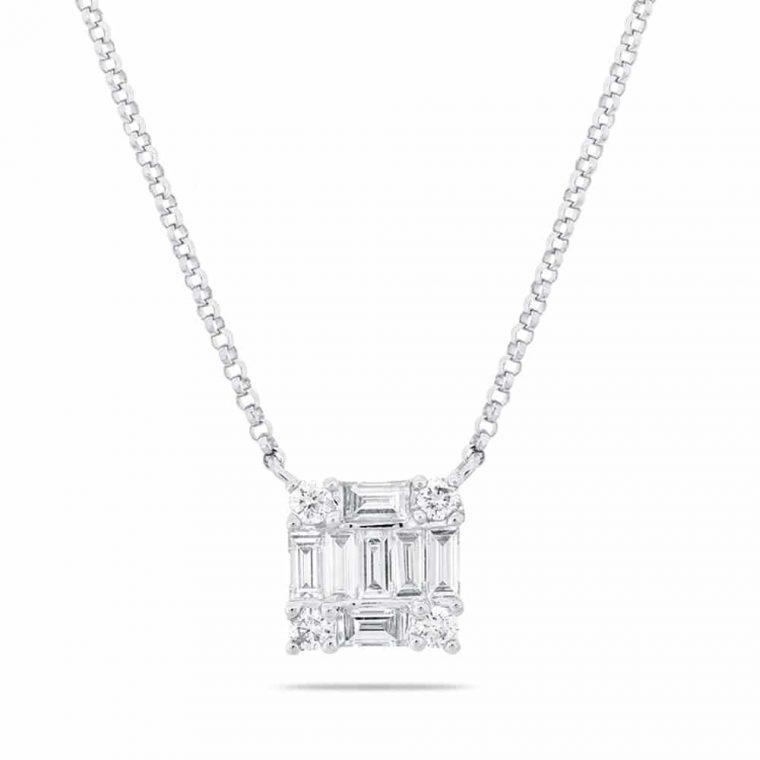 Square Diamond Pendant Necklace in 14k White