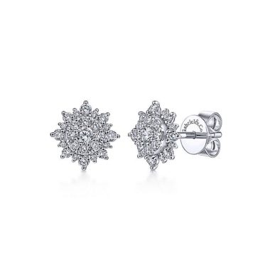 Starburst Stud Earrings in 14k White Gold with Round Diamonds